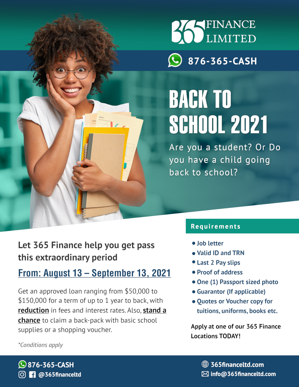 365 Finance Limited Back to School Flyer Promotion